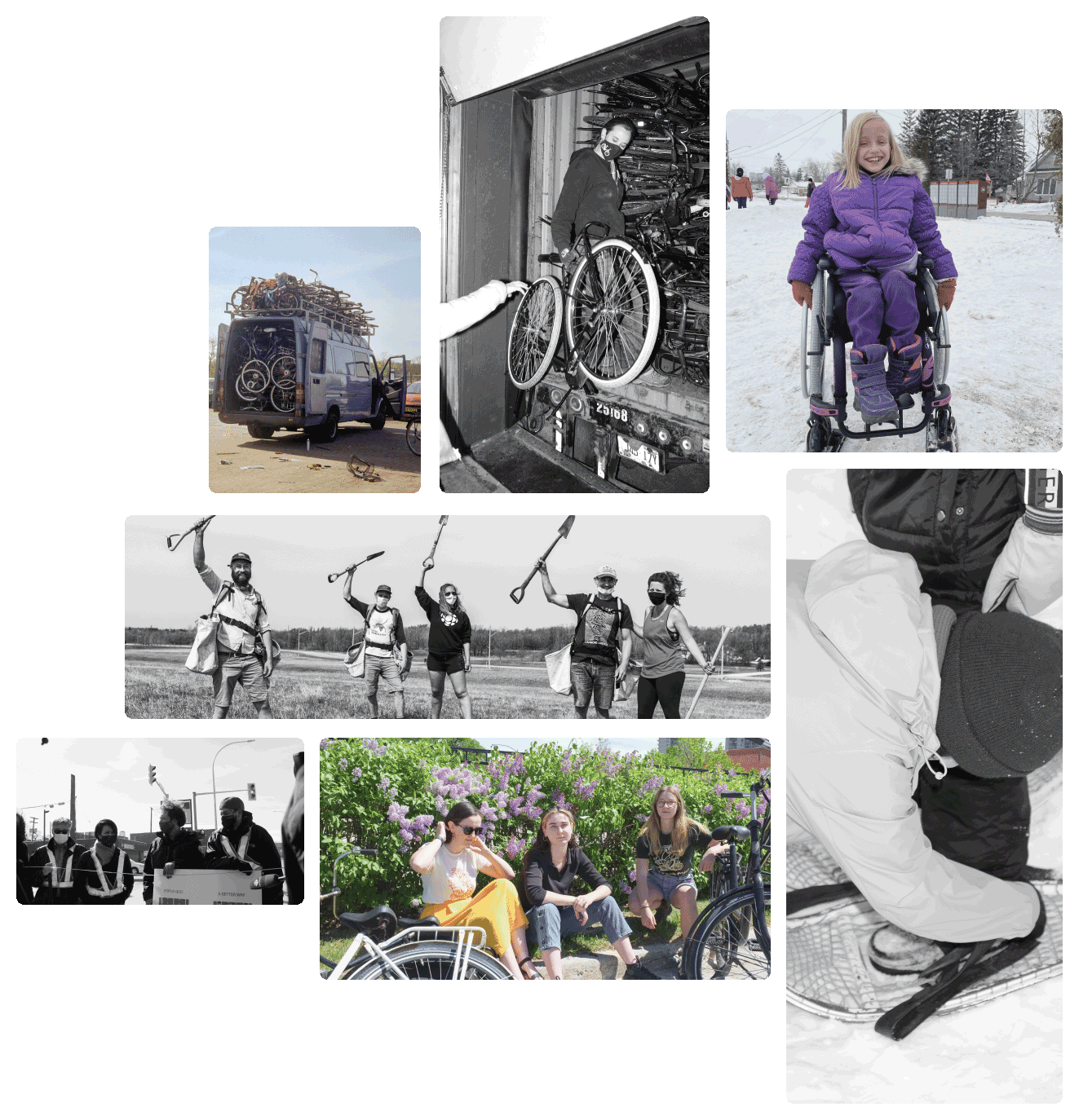 Image grid showing the different work that Winnipeg Trails Association does